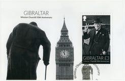 GIBRALTAR - 2015: przedstawienia Sir Winston Spencer Churchill 1874-1965, 50th rocznica, polityk Obrazy Stock