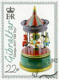GIBRALTAR - 2015: przedstawienie karuzeli zabawka, serii Europa Stare zabawki obraz stock