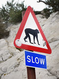 Gibraltar, Road Sign Monkeys Royalty Free Stock Photo