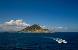 Gibraltar rock. The Roch of Gibraltar with a Pilot-boot in front Stock Images