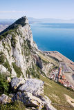 Gibraltar Rock and Mediterranean Sea Royalty Free Stock Photo