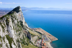 Gibraltar Rock by the Mediterranean Sea Stock Photo