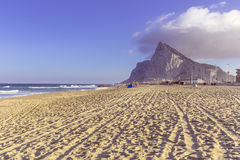 Gibraltar Rock. View of the Gibraltar rock from the beach of Linea, Spain Royalty Free Stock Photos