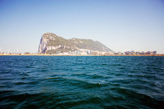 Gibraltar Rock view from the sea Royalty Free Stock Photography
