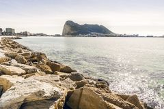 Gibraltar Rock viewed from Andalusia, Spain. Gibraltar Rock viewed from Andalusia, British overseas territory, Great Britain Stock Image
