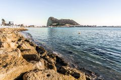 Gibraltar Rock viewed from Andalusia, Spain. Gibraltar Rock viewed from Andalusia, British overseas territory, Great Britain Royalty Free Stock Photos