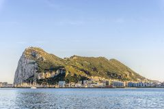 Gibraltar Rock viewed from Andalusia, Spain. Gibraltar Rock viewed from Andalusia, British overseas territory, Great Britain Stock Images