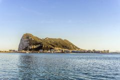 Gibraltar Rock viewed from Andalusia, Spain. Gibraltar Rock viewed from Andalusia, British overseas territory, Great Britain Stock Photos