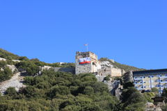 Gibraltar - self-determination day. Big flag on Gibraltar castle - self-determination day Royalty Free Stock Photography