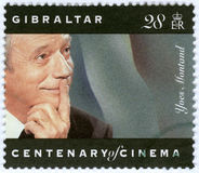 GIBRALTAR - 1995: shower Yves Montand arkivbild