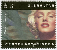 GIBRALTAR - 1995: shows Marilyn Monroe. GIBRALTAR - CIRCA 1995: A stamp printed in Gibraltar shows Marilyn Monroe, circa 1995 stock image