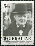 GIBRALTAR - 2001: Shows Sir Winston Spencer Churchill 1874-1965, Politiker, 200 Jahre des Gibraltars zeichnen auf lizenzfreie stockfotos