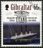 GIBRALTAR - 2012: shows Stern rises and starts sinking, 15th april 1912, series Titanic Centenary 1912-2012 Stock Photos