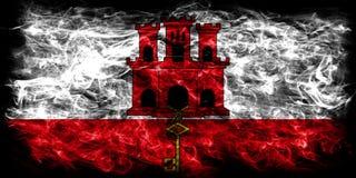 Gibraltar smoke flag, British Overseas Territories, Britain depe. Ndent territory flag Stock Image