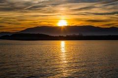 Gibraltar solnedgångsikt Fotografering för Bildbyråer