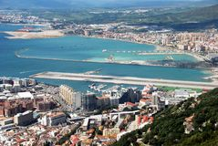 Gibraltar and Spain coastlines. Stock Photo