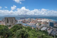 View of Gibralta from the Rock. Royalty Free Stock Photos