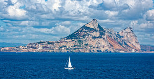 Gibraltar on a sunny day from the bay Royalty Free Stock Photos