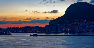 Gibraltar at sunrise from the bay Royalty Free Stock Images
