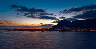 Gibraltar at sunrise from the bay Royalty Free Stock Photo