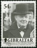 GIBRALTAR - 2001: toont Sir Winston Spencer Churchill 1874-1965, politicus, stelt 200 Jaar van Gibraltar te boek Royalty-vrije Stock Foto's