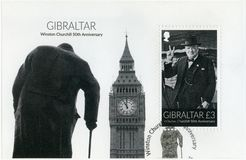 GIBRALTAR - 2015: toont Sir Winston Spencer Churchill 1874-1965, 50ste verjaardag, politicus Stock Afbeeldingen