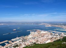 Gibraltar Town. View of Gibraltar town, runway and harbour from the rock Stock Photography