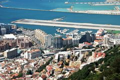 Gibraltar town and runway. Royalty Free Stock Images