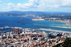 Gibraltar town and runway. Stock Images