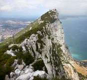 Gibraltar Upper Rock. A panoramic view of the Gibraltar upper rock with a view towards Spain and the Gibraltar coastline Stock Images