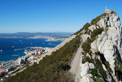 Gibraltar upper rock nature reserve and city Royalty Free Stock Photography