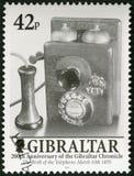 GIBRALTAR - 2001: Uppfinning av den telefon10 mars 1876, vid Alexander Graham Bell, 200 år av den Gibraltar krönikan Royaltyfri Foto