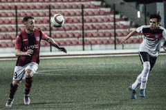 Gibraltar vaggar koppfjärdedelfinaler - fotboll - Manchester 62 0 Arkivfoton