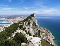 Gibraltar View. View from the Rock of Gibraltar looking at the highest point and over into Spain Stock Photo