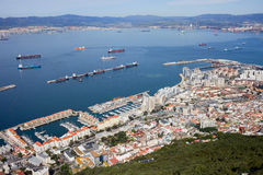 Gibraltar zatoka i miasto Zdjęcie Stock