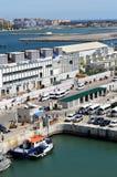 Gibralter船坞和机场 库存图片