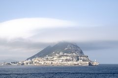 The Rock of Gibralter in cloud royalty free stock photo