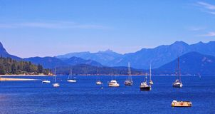 Gibson Harbour summer. View from Gibsons Pier looking east up Howe Sound Stock Images