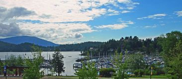 Gibson Harbour summer vista. View from Gibsons City hall over marina and Gower Point Royalty Free Stock Photography