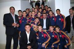Gica Hagi e una squadra di football americano minore Fotografia Stock