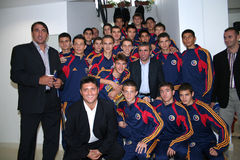 Gica Hagi and a junior football team Stock Photo