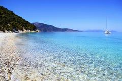 Gidaki海滩在伊塔卡希腊 库存图片
