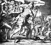 Gideon Defeats the Midianites. 1) Sacred-biblical history of the old and New Testament. two Hundred and forty images Ed. 3. St. Petersburg, 2) 1873. 3) Russia 4 Royalty Free Stock Photo