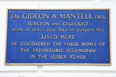 Gideon A. Mantell Plaque in Lewes royalty free stock image