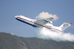 Gidroaviasalon 2012 / Be-200ES. Gelendzhik, Russia - September 9: Seaplane Be-200ES of EMERCOM Russia demonstrates fire fighting Stock Image