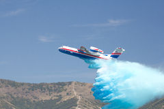 Gidroaviasalon 2012 / Be-200ES. Gelendzhik, Russia - September 9: Seaplane Be-200ES of EMERCOM Russia demonstrates fire fighting Stock Photo