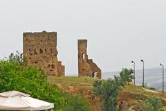 Gids en toeristen bij ruïnes die van Merenid-graven Fez, Mo overzien stock foto