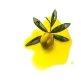 Gießen des olivgrünen und Olivenöls lokalisiert Lizenzfreie Stockfotos