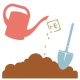 Gießkanne, Betriebssamen und Garten-Werkzeug, Vektor-Illustration Lizenzfreies Stockfoto
