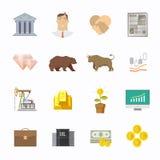 Giełda Papierów Wartościowych handel ustawiający ikony Obraz Stock
